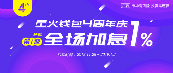 慶星火錢包四周年 全場加息1%